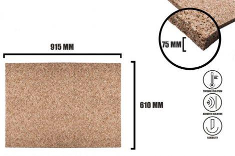Cork sheet 75mm