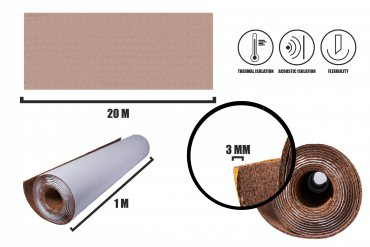 Self-adhesive cork roll 3mm (30m)