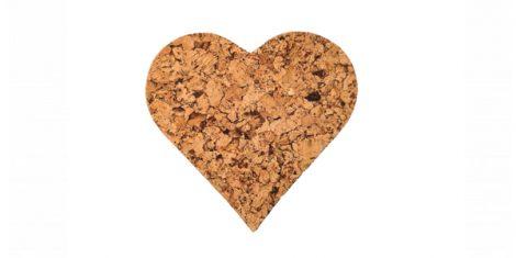 Cork pad Medium heart decorative -kpl
